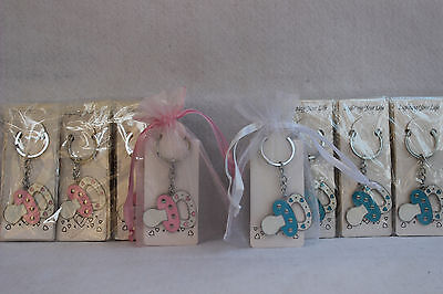 new 12 baby shower blue or pink pacifier key chain w pouch party favor game gift ()
