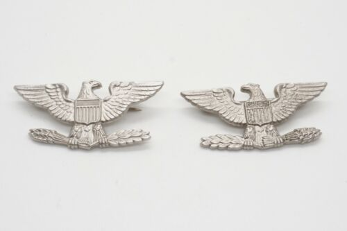 Vietnam War Sterling Army Colonel Rank Eagle Shoulder Insignia Set by Meyer