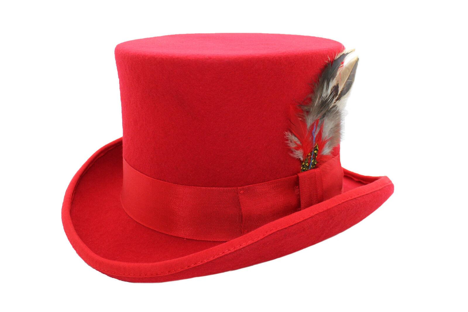 Unisex Top de lana roja sombrero de fieltro con la pluma a juego Band Cinta  Y Satén Guarnición. 100% LANA 7de7c1d509d