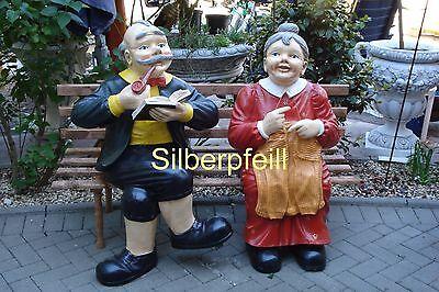 Oma Opa Auf Der Bank Statue Figur Skulptur Lebensgroß Groß Deko Gartenfigur  ()