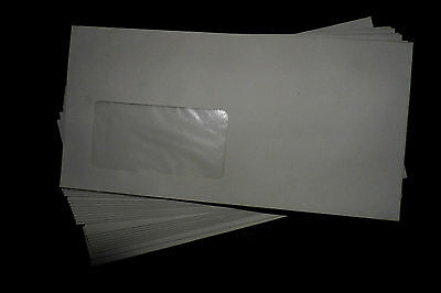 100 Briefkuvert, Briefumschläge Recycling DIN lang, mit Fenster, selbstklebend,