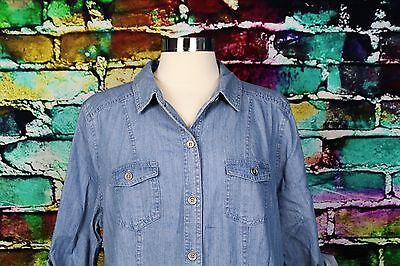 LIZ CLAIBORNE Shirtdress Blue Denim Jean Shirt Dress PXL