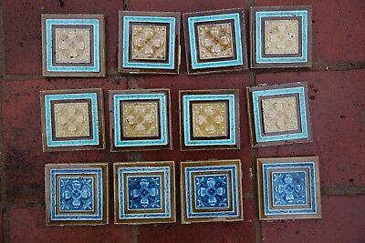 12 x Minton Victorian Glazed Tiles