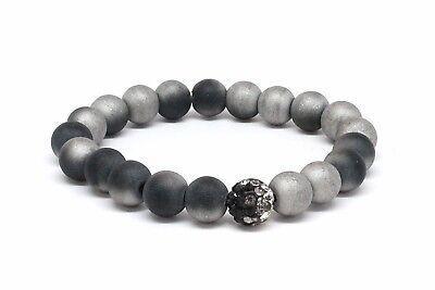 Druzy Agate Bracelet with Black / Silver Stone and Matrix Black / Silver Beads