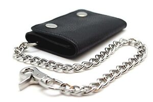 Biker Trucker 111 Black RFID Trifold Chain Wallet Snake Texture Genuine Leather