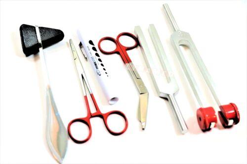 6 pcs Reflex Percussion Taylor Hammer Penlight Tuning Fork C 128 C 512 +scissors