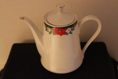 Fine China With Lid Teapot (Fairfield Fine China Teapot with Lid - Holiday Ribbon/Poinsettia Design )