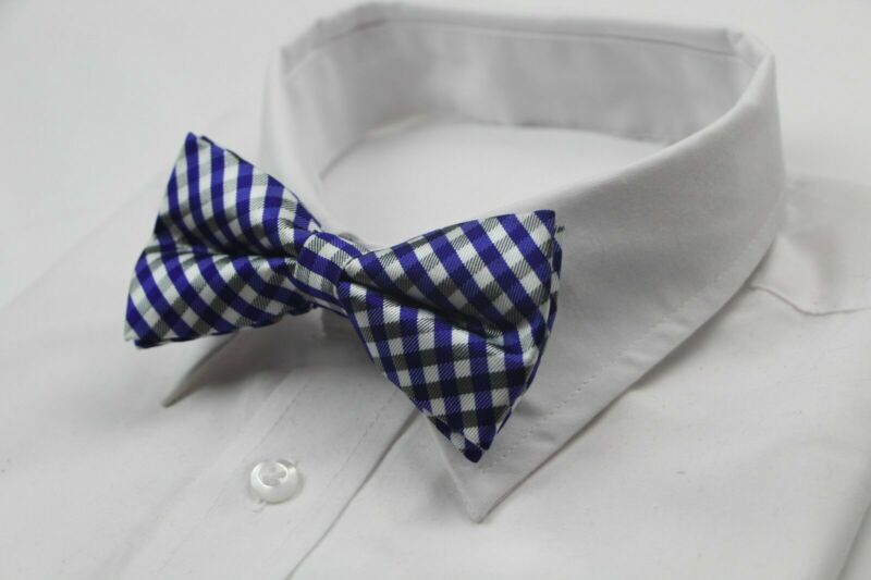 Mens Checkered Blue Black White Bow Tie Pretied Wedding Formal Patterned