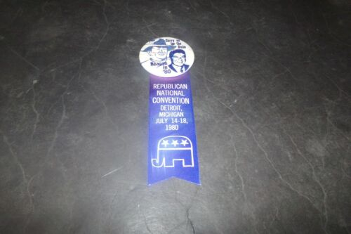 Vintage Ronald Reagan Campaign Pin w Ribbon RNC Detroit w Sketch John Wayne 1980
