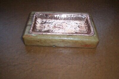 Handmade Copper and oak arts &crafts style trinket / coin tray
