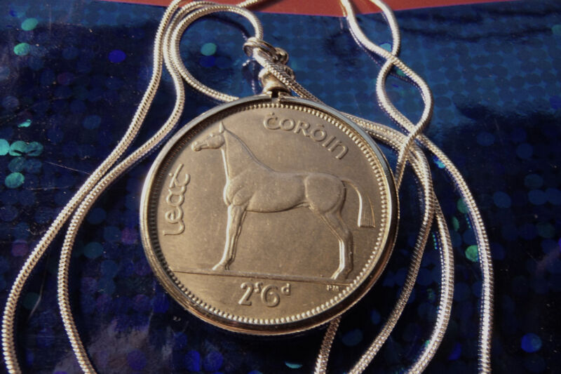 "IRISH Half Crown HORSE COIN Stallion PENDANT on a 30"" 925 SILVER Snake Chain"