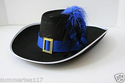 Halloween Party Puss in Boots Inspired Hat Adults Kids Black /Blue Feather G0433