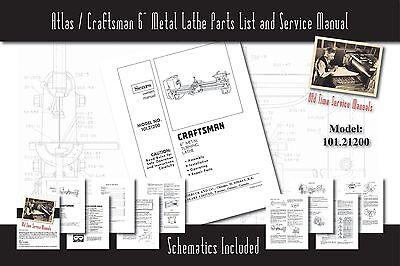 Atlascraftsman 6 Metal Lathe 101.21200 Service Manual Parts Lists Schematics
