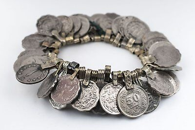 Vintage Afghani Coin Bunch Afghanistan Silver Flat White Metal Large Hole