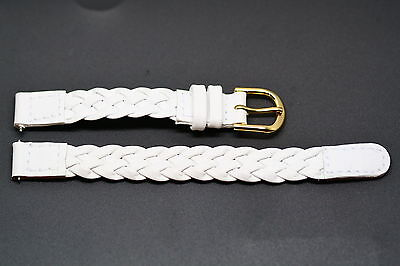 10MM WHITE BRAIDED GENUINE LEATHER WATCH BAND STRAP Braided Leather Strap Watch