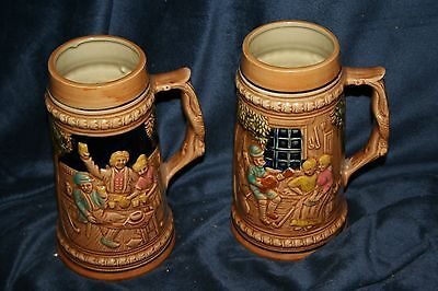 """2 VINTAGE BEER STEINS~ MADE IN JAPAN~ ABOUT 7"""" TALL~MAN CAVE"""
