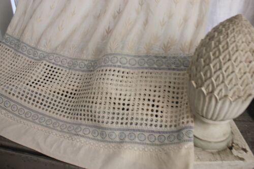 Vintage French eyelet lace dress white blue STUNNING!!!!!