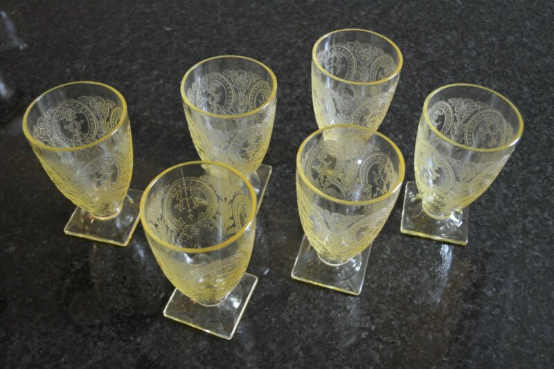 Indiana Glass Tumblers 6, no flaws, yellow depressio glass