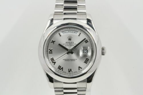 Rolex Day-date Ii Model 218206 Silver Roman Dial -box & Papers-
