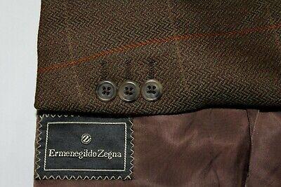 ERMENEGILDO ZEGNA 54 / 42R Green & Brown Herringbone w/ Orange Window Sport Coat
