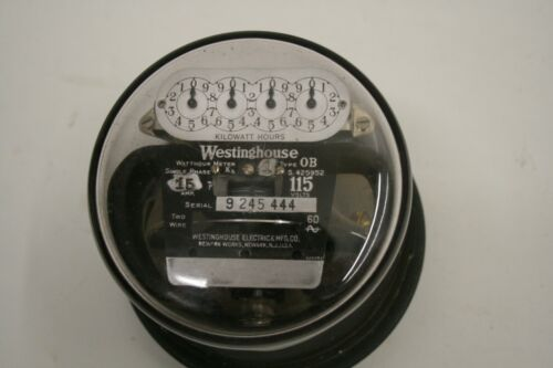 Vintage Westinghouse Electric Meter 15 AMP 115 Volts Type OB 2 Wire Single Phase