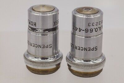 Vintage - Spencer Lens Co. 44x 95x Microscope Objective Lenses - New York