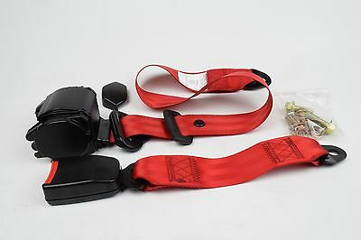 RED, Universal 3 Point Inertia Seat Belt E9 Rated. UK supplier, VAT Inc ECER16