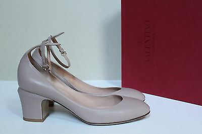 Beige Ankle Strap (New sz 9 / 39.5 Valentino Nude Beige Leather Tan-Go Tango Ankle Strap Pump)