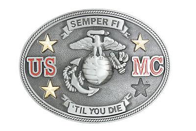 USMC Marines Semper Fi Til You Die Military Metal Belt Buckle
