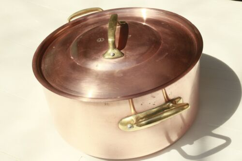 Vintage French Copper Stockpot w Lid Marked Villedieu Lined 2mm 8.6inch 11lbs