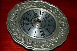 Sexton Pewter Clock Scroll Design Roman Numerals VINTAGE 1975 - NON WORKING
