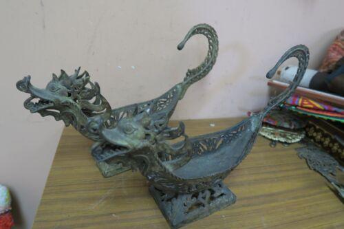 """Set of 2 Vintage Antique Brass Dragon Buddhist  Incense Burner Censer 14"""""""