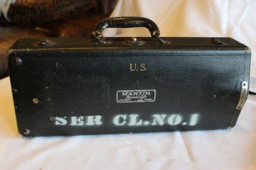 MARTIN HANDCRAFT STANDARD SILVER CORNET U.S.Military #140634 w/ MARTIN Hard case