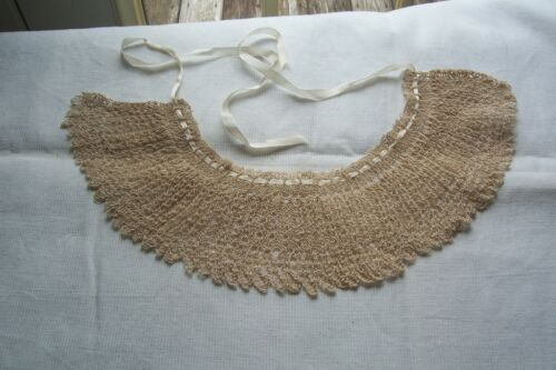Vtg Antique Victorian Edwardian Knitted Lace Collar Silk Ribbon  Dolls Millinery