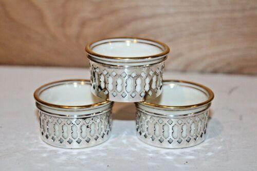 """Set of 3 Antique Sterling Framed Lenox Porcelain Salt Cellars 1.6"""" x .75"""""""