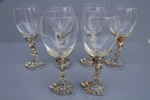 Arthur Court Fairy Fairies Wine Glasses 6pc Set Bally