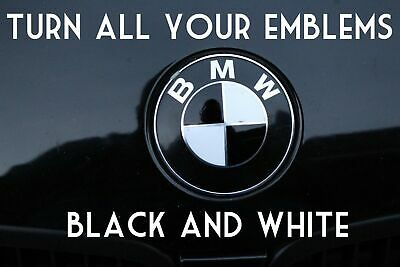 TURN YOUR BMW EMBLEM BLACK AND WHITE - BMW Colored Emblem Roundel Overlay Vinyl