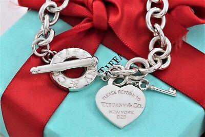 "Return to Tiffany & Co Sterling Silver Heart & Mini Key Toggle 7.5"" Bracelet"