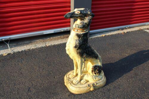 Antique LIFESIZE Russian Wolf Hound Dog Statue Realistic Borzoi Dog Statue