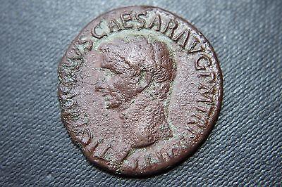 ANCIENT ROMAN BRONZE CLAUDIUS AS COIN 1st CENTURY AD CAESAR