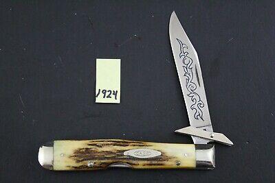 Case XX 1977 5111 1/2 LSSP Blue Scroll Stag Cheetah Pocket Knife 1924