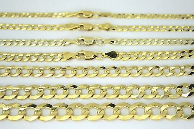 14K SOLID GOLD CUBAN LINK CHAIN NECKLACE BRACELET FOR MEN WOMEN 2~11.5mm 7~30""