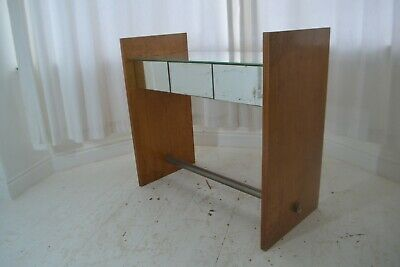 STUNNING VINTAGE ART DECO WALNUT , CHROME & MIRROR DRESSING / CONSOLE TABLE