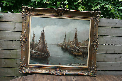 Flemish Master Achille sengier XXL Marine Boats in harbour signed Oil on canvas