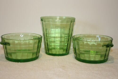 Block Optic green (2) open ice tub/butter tub and ice bucket (no handle)