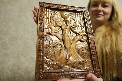 """Epic Wooden Carved picture  """" Slavic goddess of death Mara"""" 14"""" size."""