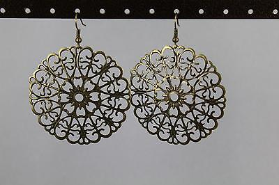 Gold Bronze filigree earrings lace cut out medallion dangle drop french hook - Gold Filigree Cut Out