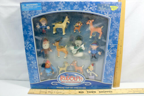 NIB Rudolph the Red-Nosed Reindeer Toys Clip On Set of 12 Playing Mantis-ID#0413