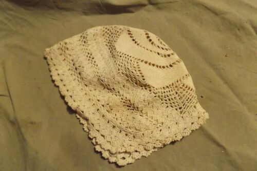 Vintage Antique Hand Crocheted Lace Thin Cotton? Off White Infant or Baby Bonnet