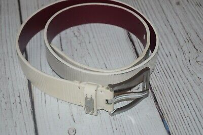 """Men's 36 NIKE Tiger Woods GOLF White Leather Belt Silver """"T"""" Buckle 12022-04"""